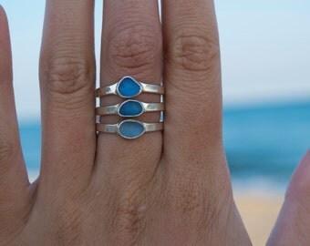 Blue Mermaid Ring | Mermaid Ring | Stacking Ring | Sea Glass Ring | Silver Mermaid Ring | Sea Glass Jewelry | Mermaid Jewelry