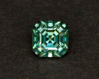 Moissanite Fancy Blue Green Loose Lab Created Conflict Free Traditional Asscher Cut Gemstone for Engagement or Fashion