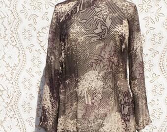 Asian Cheongsam Dress Sheer Silk Velvet