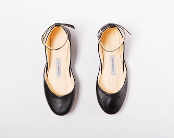 The Mary Janes in Black | Pointe Style Ballet Flats with Ankle Strap Detail | Minimal Black Leather Shoes | Classic Black