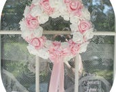 Pink Cottage Princess Roses Luxe Roses Candy French Wreath Bridal Shabby Chic Valentines Spring Marie Antoinette wedding