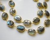 Gold Labradorite Rimmed Beads, Labradorite Beads, Gold Bezeled Labradorite Beads, Gold Vermeil Bezeled Beads 17x14mm