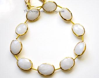 White Quartz Rimmed Beads, White Quartz Oval Beads, Gold Bezeled Quartz Beads, Gold Vermeil Bezeled Beads 16x12mm