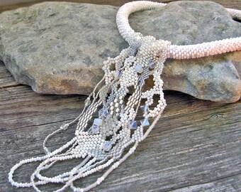 White Freeform Peyote Necklace, Wedding Necklace, Beadwork necklace, Crochet beads rope necklace, wedding jewelry, white jewelry, moonstone