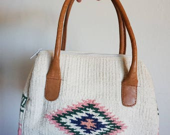 Vintage Southwest Tapestry Cream, Pink, Green and Navy Blue Doctors Bag Purse with Leather Handles
