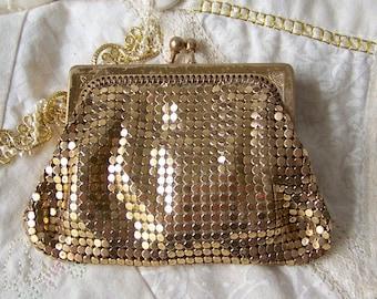 Vintage Mesh Coin Purse Whiting Davis Gold Mesh Change Purse Cream Satin Lining 1950s