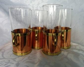 Beucler Brass and Copper Mugs, Irish Coffee Mugs, Russian Style Brass Copper Mugs