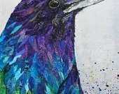 Raven's True Colors - 11 X 14 Print - Paper Collage - Paper Art - Crow - Bird Art - Bird Collage - Edgar Allen Poe  - Lisa Morales