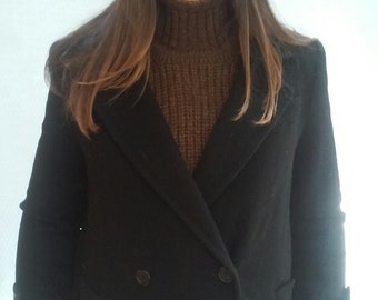 Navy PeaCoat, 70s Wool Tailored, MILITARY knee length, Evan Picone
