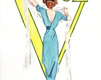 Vogue. 1911 March Vintage Vogue. Original Watercolor. 9x12.