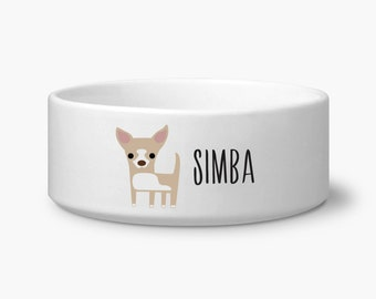 Personalize dog bowl, Chihuahua dog food bowl personalized with custom name