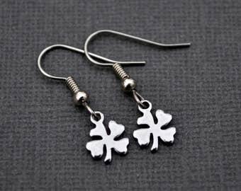 Tiny Silver Four Leaf Clovers . Earrings