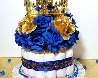 DIAPER CAKE Centerpiece With Crown For Royal Prince Baby Shower / Boys  Royal Blue And Gold