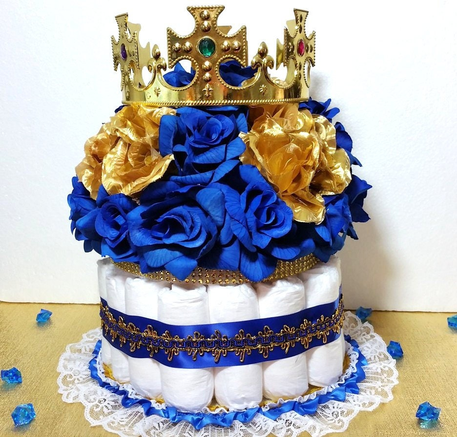 diaper cake centerpiece with crown for royal prince baby