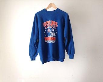 denver BRONCOS vintage SWEATSHIRT 80s orange and blue John Elway vintage NFL football