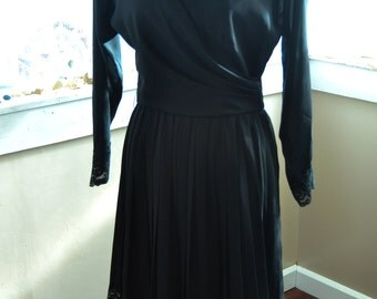Vintage Black Dress with Lace Trim by A.J. Bari - S - M