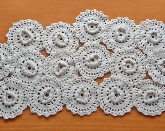 16 Crochet Flowers, 3 inch Hand Crocheted Flower Pieces, Small Vintage Doily Rounds, Crochet Embellishments for Crafts and Sewing