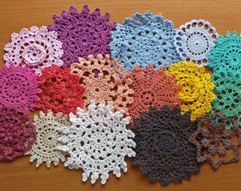 16 Hand Dyed Vintage Doilies, Rainbow of Colors, 2 to 4 inch Small Craft Doilies, Crochet Lace Doilies