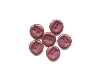 6 Plum Vintage Buttons, Brown, Purple, Buttons, Plastic