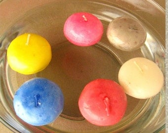 chunky vintage floating candles set of six floating decoration festive candles all occasion candles round floating