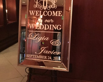 Welcome Wedding Mirror Vinyl Decal/ Wedding Welcome Sign/ Welcome Mirror/ Hashtag Sign/Bridal Shower/Baby Shower