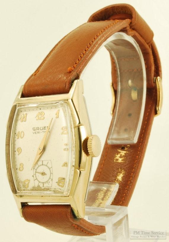 "Gruen ""Veri-Thin"" vintage wrist watch, 17 Jewels, elegant yellow gold filled & stainless steel smooth polish rectangular Gruen case"