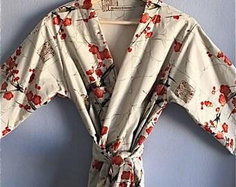 READY to SHIP SMALL Ivory Jersey Lined Kimono Robe. Kimono. Bathrobe. Dressing Gown. Modern Kimono Garden Grey.