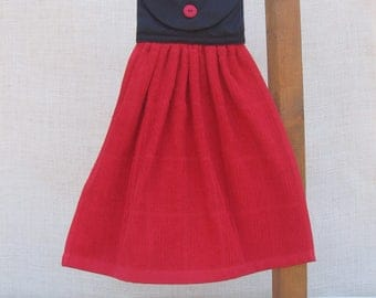Red & Black Kitchen Towel, Red Kitchen Decor, Hanging Hand Towel, Kitchen Towels, Kitchen Linens, Solid Towel