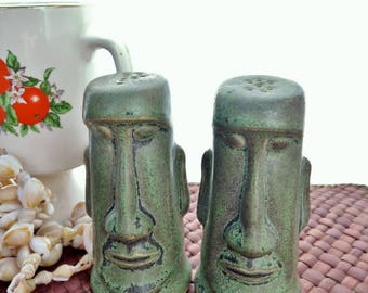 Vintage Tiki Moai Kahiki Supper Club Salt And Pepper Shakers OMC Japan