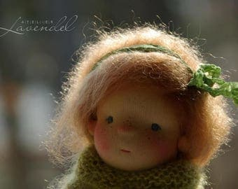 "Dora Waldorf Inspired Doll OOAK Doll  by Atelier Lavendel Natural Fibers Doll Cloth Doll 9"" ECO friendly"