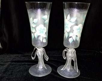 Hand Painted Champage Glasses, Shimmery Frost with White and Light Blue Flowers