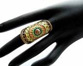 Long Ring, Long Knuckle Ring, Colorful Ring, Boho Ring, Long Boho Ring, Antique Gold Ring, Big Ring, Long Big Ring, Big Ring Ring, Knuckle