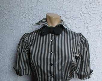 50s Vintage Striped Taffeta Blouse Top sm/med.