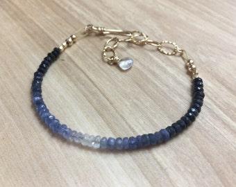 Sapphire Bracelet, Simple Sapphire Bracelet, Ombre Sapphire Bracelet, Modern Blue Sapphire Stone Bracelet, September Birthstone