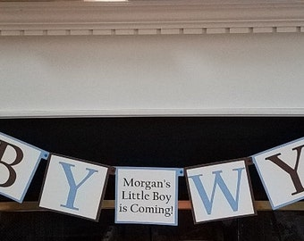 Blue & Brown 1st Birthday Decorations, Vintage Teddy Bear Theme, Baby Shower Banner - Choice of Colors
