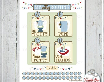 Potty Training Chart | Potty Routine Chart | Blue Theme | Training Chart | Boy's Chart | Toddler Chart | Toilet Training | Instant Download