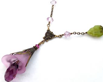 Mauve calla lily pendant necklace in antiqued brass, Austrian crystal, filigree layers, lucite flower. Art Nouveau style Boho floral jewelry