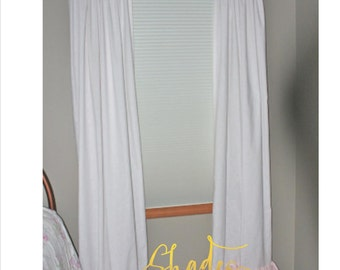 Heirloom White Linen Panels Pink Taffeta Single Long Ruffle PAIR Shabby Chic Coastal Romantic Shades Up & Co!