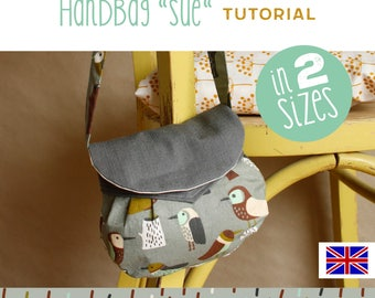 tutorial handbag SUE, DIY, sewing pattern, instructions, cross strap purse, shoulder bag, satchel, gripsack