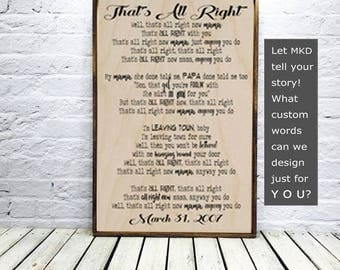 personalized wedding gift, song lyric wall art, song lyric art, wedding song lyric art, Wedding Anniversary Gift, song lyrics, Wood Sign