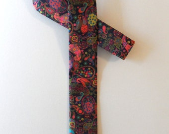 Liberty of London Skinny Tie // Men's Luxury Accessories, Holiday Gift for Him, Paisley, Psychedelic, Bright