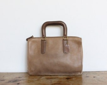 Vintage Coach Bag Slim Satchel Bag // NYC Bonnie Cashin Brief Tote Clutch Putty Tan