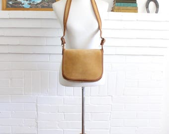 Vintage Coach Bag // Classic Shoulder Bag Distressed Camel Tan NYC // New York City Original Flap Bag Purse Handbag NYC