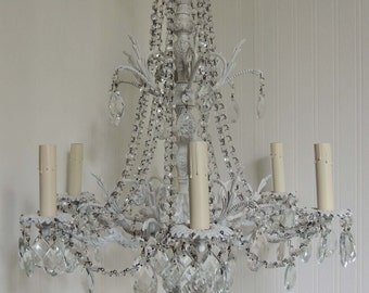 6 Light White Hanging Chandelier With Crystals Ceiling Vintage