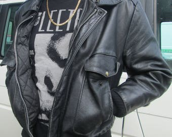 black leather dad jacket - Large