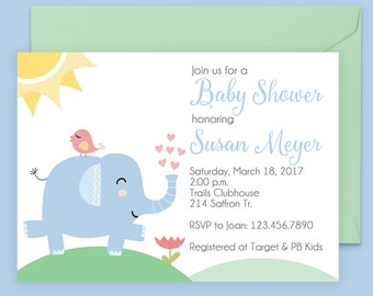 Elephant Shower Invite - Elephant Baby Shower Invitation - Shower With Love - Modern Shower Invitation