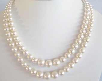 Graduated Pearl Necklace,Double Strand Pearl Necklace,Swarovski Pearls,Graduated Pearls,Romantic,Bridesmaid Beaded Necklace,Pearl Necklace