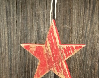 "3 1/2"" Rustic wood star Ornament/gift decoration  RED #543"