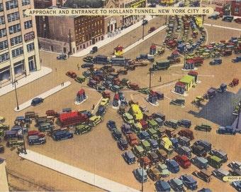Holland Tunnel Entrance- 1950s Vintage Postcard- New York City- Traffic Jam- Souvenir View- Acacia Card Co- Paper Ephemera- Unused