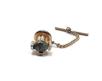 Vintage Green Serpentine Gemstone Tie Tack Gold Tone Formal Mens Jewelry Groom Gift Best Man